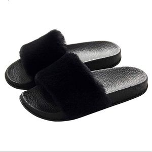 Shoes - Brand New All Black Furry Fuzzy Rubber Slides